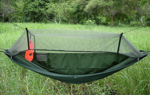 Olive Green Expedition Hammock with Dark Green Mosquito Netting.