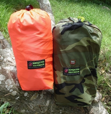Expedition Hammock (Orange stuff sack) and Jungle Hammock & Fly (Camoflage stuff sack)