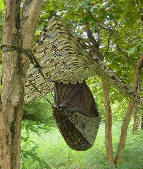 End View of Jungle Hammock & Fly (click to enlarge)