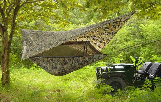 Jungle Hammock and M151-A1 Jeep.